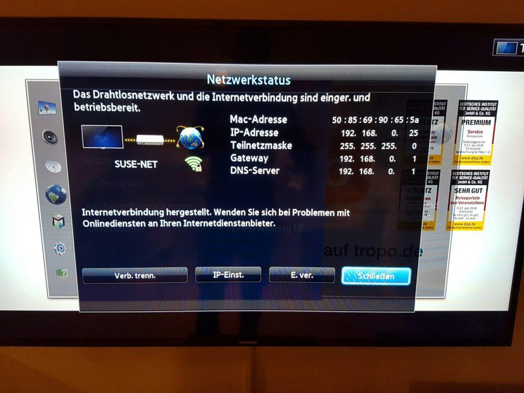 Samsung TV - Menü - Netzwerk - Netzwerkstatus