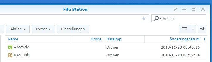 File Station Backup Ordner
