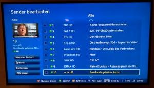 Samsung TV - Sender bearbeiten
