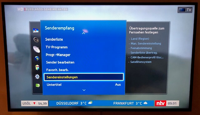 Samsung TV - Sendereinstellungen