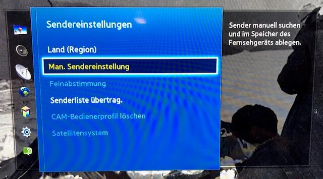 Samsung TV - manuelle Sendereinstellungen