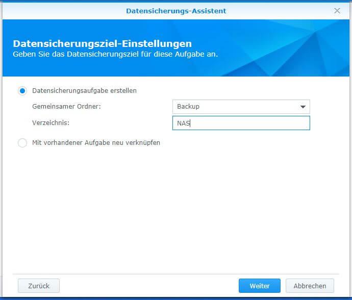 Synology Hyper Backup - Datensicherungs-Assistent - Datensicherungsziel