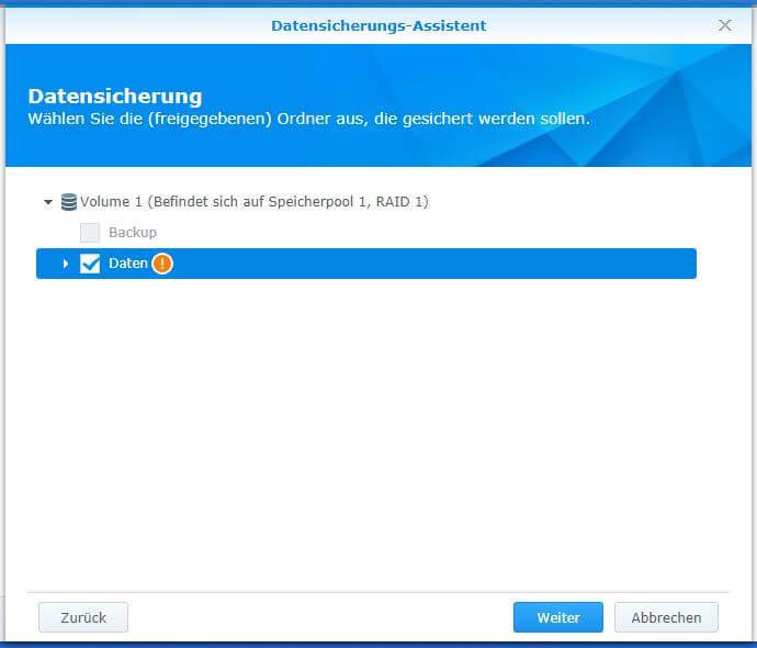 Synology Hyper Backup - Datensicherungs-Assistent - Ordner auswählen