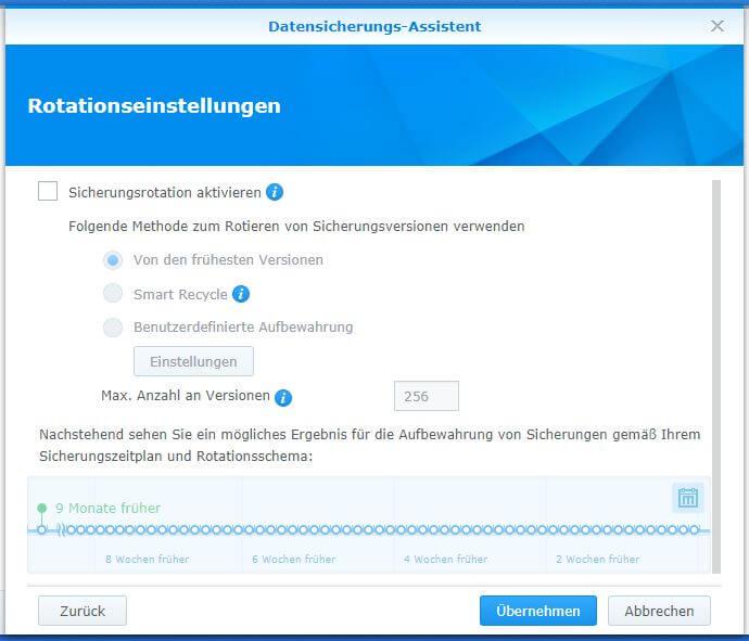 Synology Hyper Backup - Datensicherungs-Assistent - Rotationseinstellungen