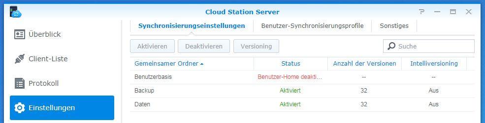Cloud Station Server - Synchronisierungseinstellungen - Ordner ausgewählt