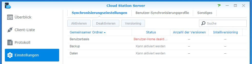 Cloud Station Server - Synchronisierungseinstellungen