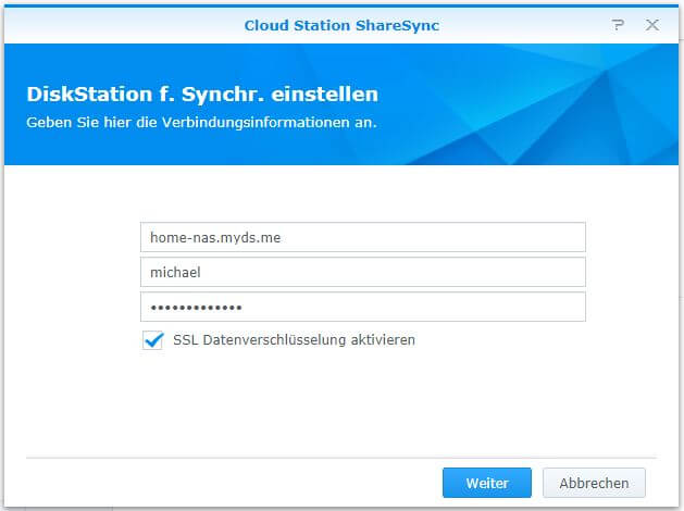 Cloud Station ShareSync - DiskStation für Synchronisation einstellen