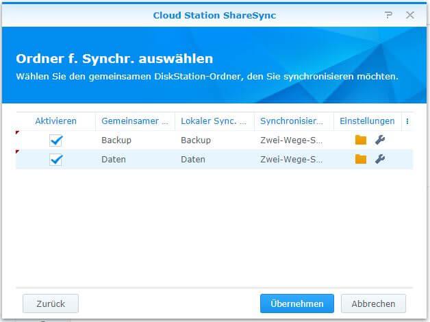 Cloud Station ShareSync - Ordner für Synchronisation auswählen