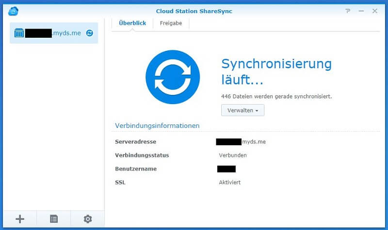 Cloud Station ShareSync - Synchronisierung läuft