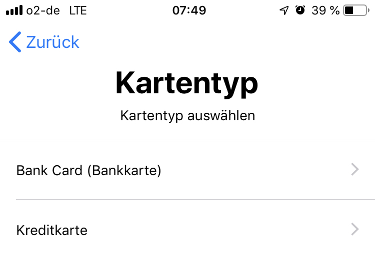Apple Pay - Kartentyp