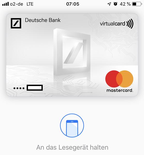 Apple Pay - Smartphone an das Lesegerät halten
