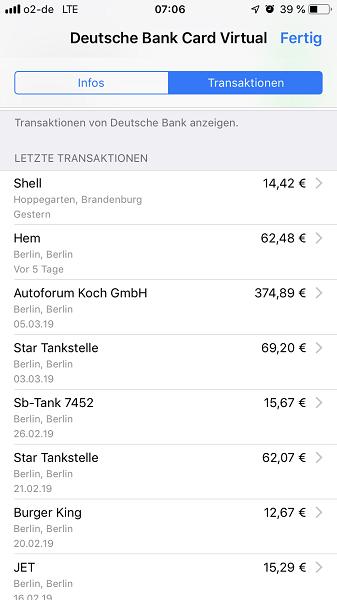 Apple Pay - Transaktionen
