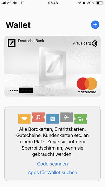Apple Pay - Wallet hinzufügen