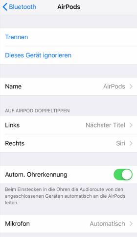 AirPods Einstellungen