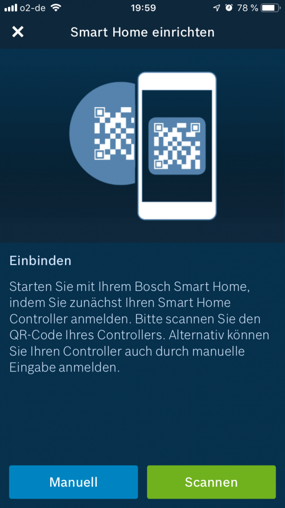 Bosch Smart Home Controller QR Code scannen