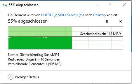 Geschwindigkeit Datei kopieren