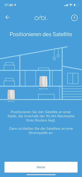 Positionierung des Satelliten