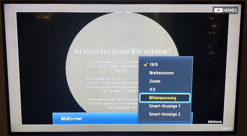 Apple TV - Fernseher auf 16 zu 9 einstellen
