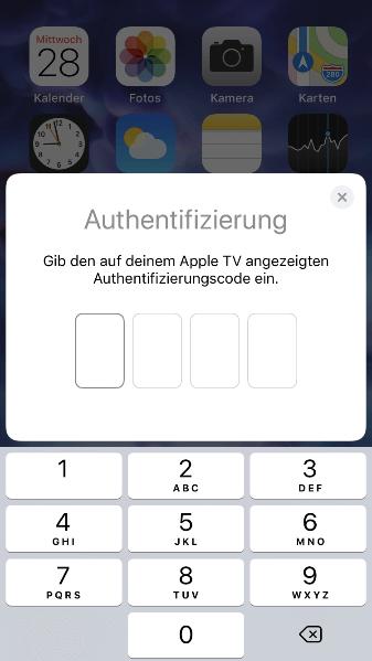 Neues Apple TV konfigurieren - Authentifizierung