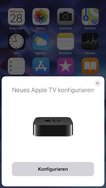 Neues Apple TV konfigurieren - Meldung auf iPhone