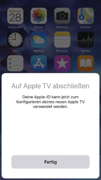 Neues Apple TV konfigurieren - abschließen