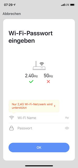 Smart Lampe - WIFI Passwort eingeben