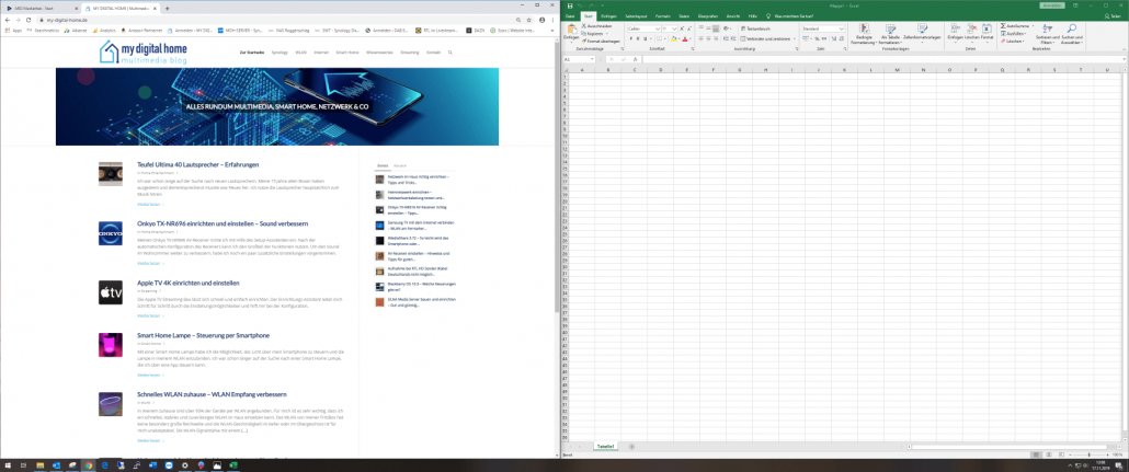 Curved Monitor 3440x1440 Internet Browser und Excel