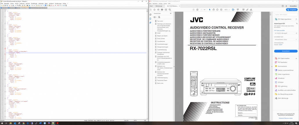 Curved Monitor 3440x1440 Notepad und PDF Reader