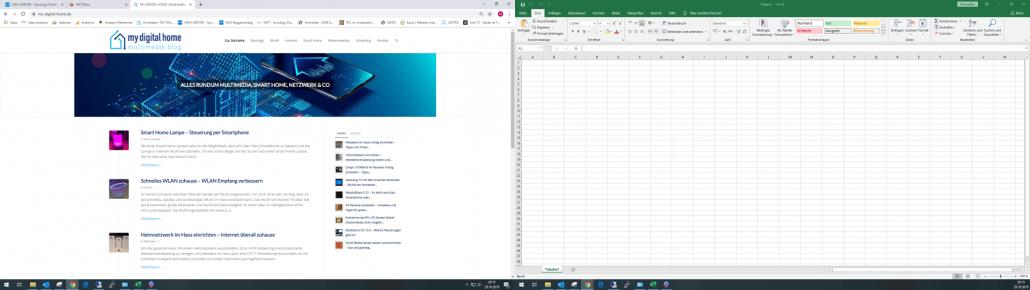 Dual-Monitor Setup 1920x1080 Internet Browser und Excel