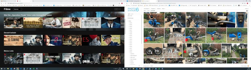 Dual-Monitor Setup 1920x1080 Netflix und Photos Synology
