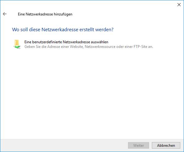 Netzwerkadresse hinzufügen - benutzerdefiniert