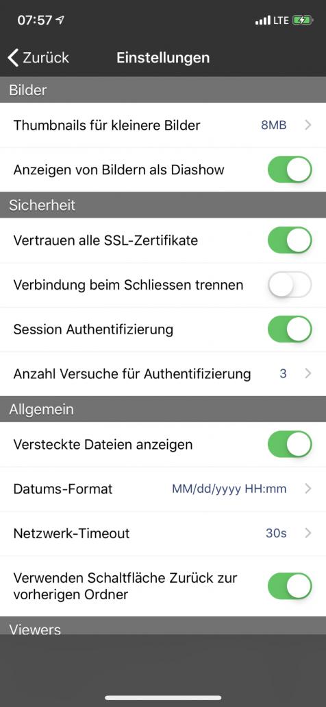WebDAV Navigator App - Einstellungen