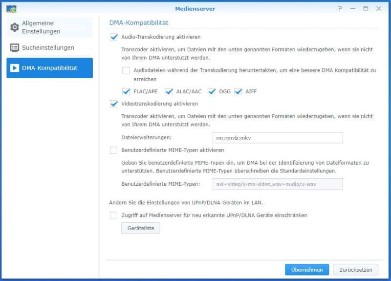 Medienserver - DMA-Kompatibilität