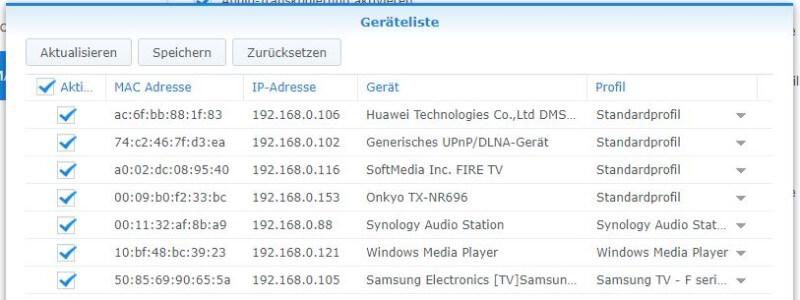 Medienserver - Geräteliste