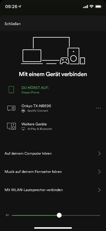Spotify App - mit iPhone verbunden