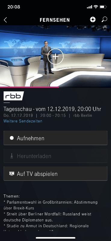 Telekom Media Receiver App - Sendung aufnehmen