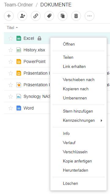 Dokument - Optionen