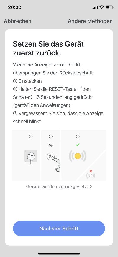 Smart Life App - Gerät zurücksetzen