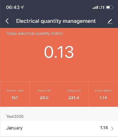 Smart Life App - Stromverbrauch NAS - Heute