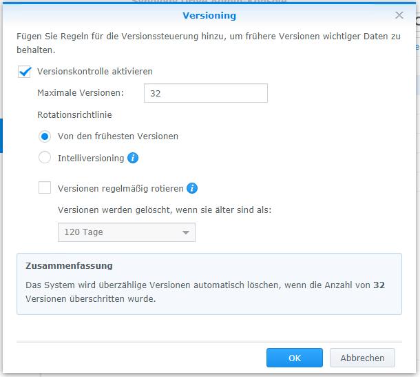 Synology Drive Admin-Konsole - Versioning