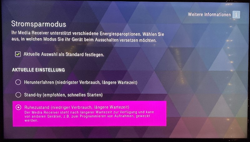 Telekom Media Receiver 401 - Stromsparmodus
