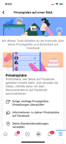 Facebook - Privatspähre auf einem Blick
