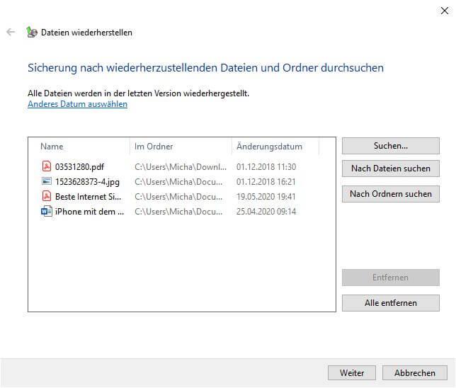Dateien auswählt zum Wiederherstellen