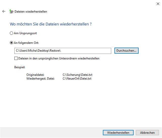 Dateien wiederherstellen - Speicherort