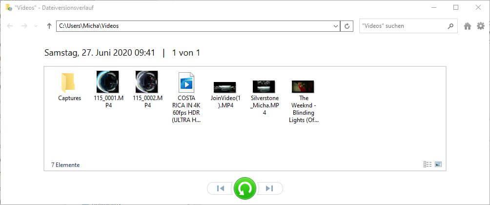 Dateiversionsverlauf wiederherstellen - Ordner Video - Dateiversionsverlauf