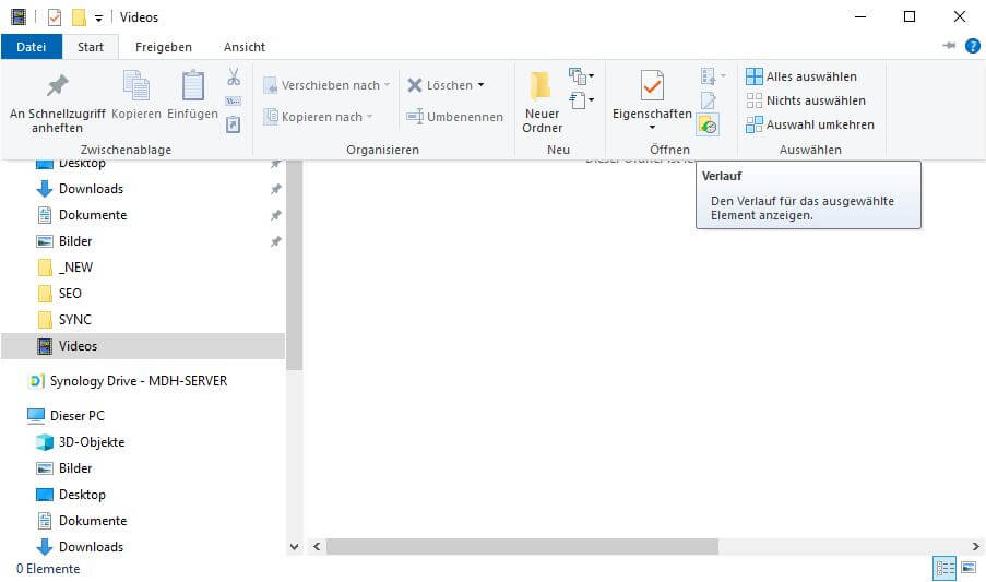 Dateiversionsverlauf wiederherstellen - Ordner Video - Start - Verlauf