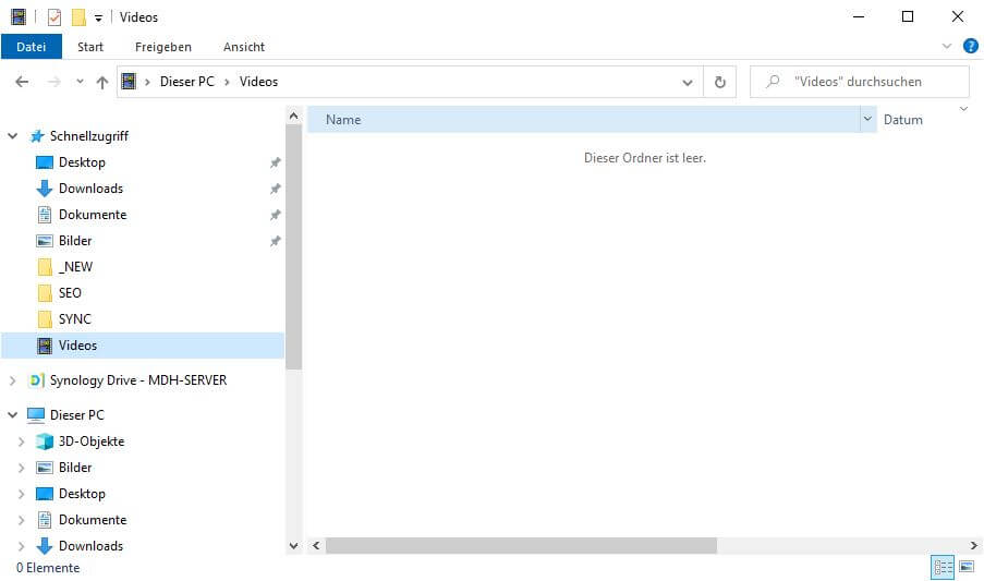 Dateiversionsverlauf wiederherstellen - Ordner Video - leer