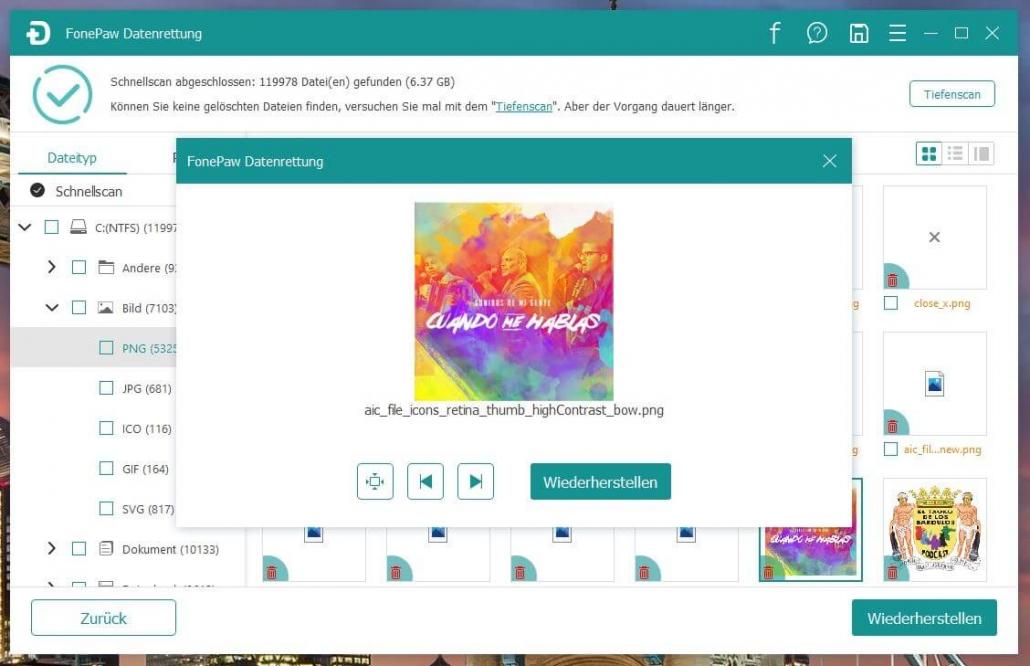 FonePaw Datenrettung - Bild auswählen zum Wiederherstellen