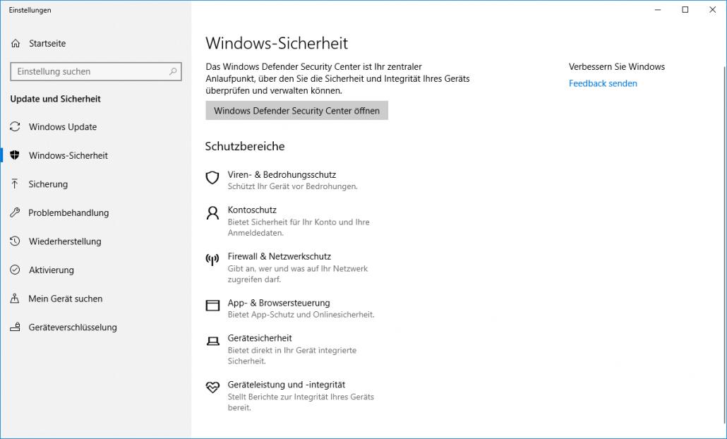 Windows 10 Sicherheit