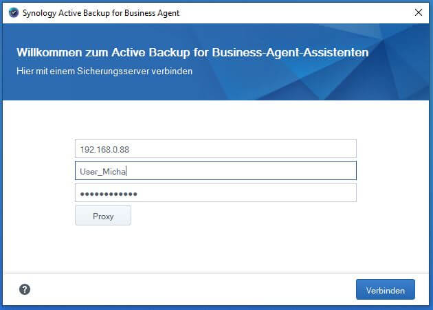Active Backup for Business - Agent konfigurieren
